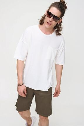 CHUBA Erkek Ekru Bisiklet Yaka Oversize Cep ve Daralan Kesim Detaylı,Pamuklu Triko T-shirt 1