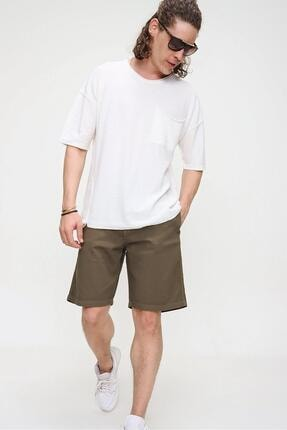 CHUBA Erkek Ekru Bisiklet Yaka Oversize Cep ve Daralan Kesim Detaylı,Pamuklu Triko T-shirt 2