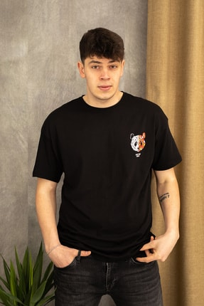 wamoss Siyah Oversize Panda Baskı T-shirt 1