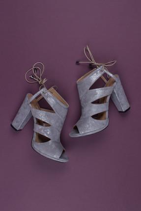 Deripabuc Hakiki Deri Gri Nubuk Kadın Topuklu Deri Ayakkabı Dp04-6300 0