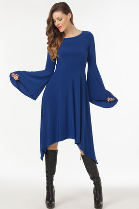 Laranor Kadın Saks Asimetrik Kesim Elbise 19L6477 1