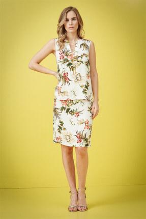 Journey Kadın Çiçekli Krem Elbise 18YELB949 1
