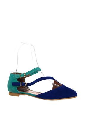 Fox Shoes Saks Mavi Su Yeşili Kadın Ayakkabı D726016902 2