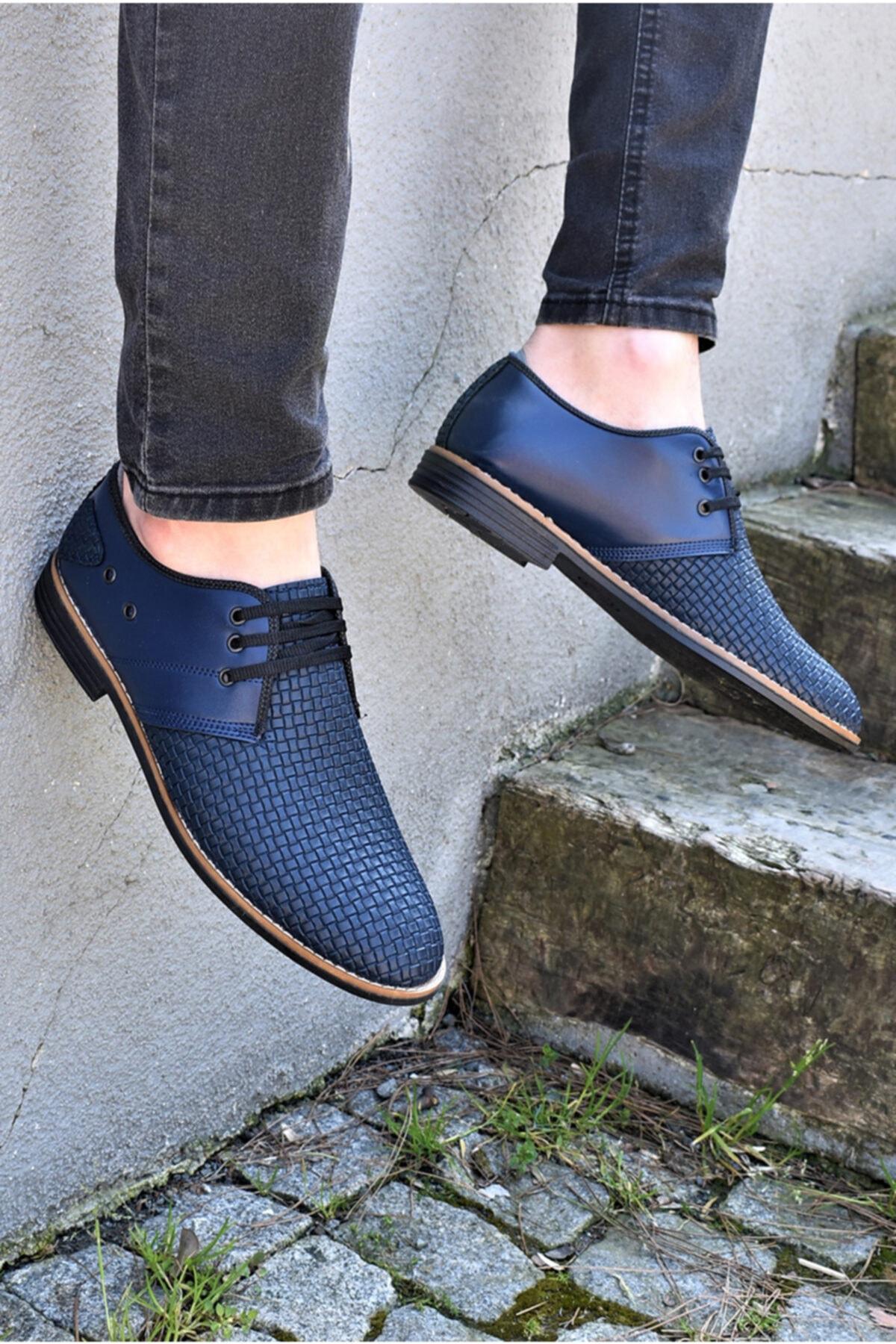 Erkek Lacivert Ortopedik Tabanlı Günlük Ayakkabı