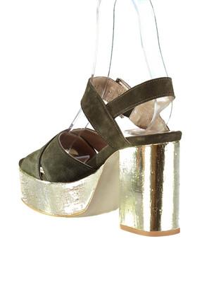 Derimod Hakiki Deri Haki Kadın Topuklu Ayakkabı 2