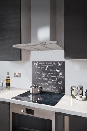 Decorita Mutfak Kuralları - Kara Tahta Görünümlü   Cam Ocak Arkası Koruyucu   52cm X 60cm 1