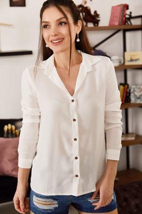 armonika Kadın Beyaz Uzun Kollu Düz Gömlek ARM-18Y001176 2