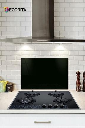 Decorita Düz Renk - Siyah | Cam Ocak Arkası Koruyucu | 40cm x 60cm 0
