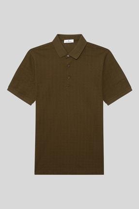 Halifaks Erkek Haki Polo Yaka Pamuklu T-shirt 0