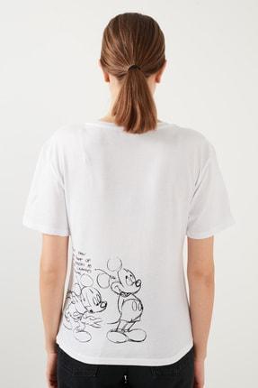 Lela Kadın Beyaz Baskılı Bisiklet Yaka Pamuklu T Shirt Kadın T Shirt 4217404 4