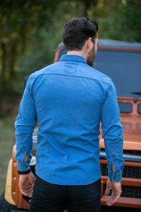 BAYEFENDİ Açık Mavi Cepli Kot Gömlek Slim Fit 4