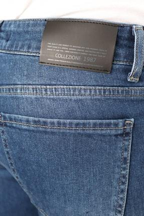 Collezione Collezıone Keven Koyu Mavi Taşlamalı Slim Fit Kot Pantolon 4