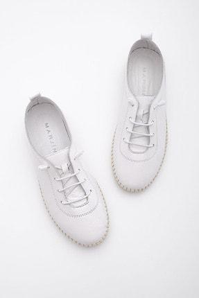 Marjin Kadın Beyaz Hakiki Deri Comfort Ayakkabı Ritok 1
