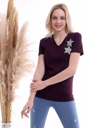 Cotton Mood Kadın Mürdüm Göğsü Yıldız Taşlı Kısa Kol V Yaka Bluz 0