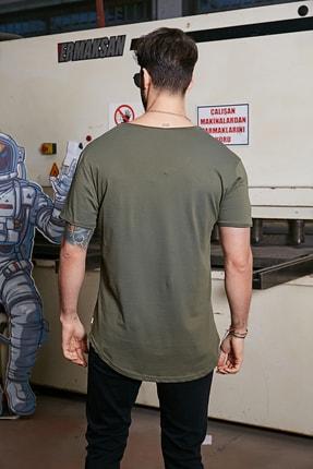 Sateen Men Erkek Haki Kısa Kol Long Kesim Basic T-Shirt 3