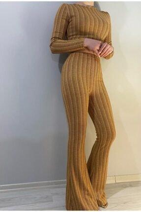 Kadın Hardal Pantolon Büstiyer Takım 5454