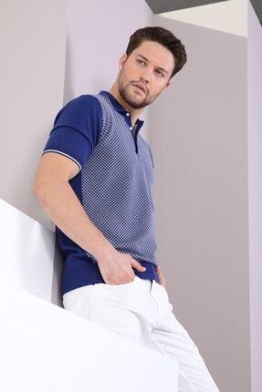 Ferraro Erkek Lacivert Polo Yaka Düğmeli Pamuk Triko T-Shirt 3