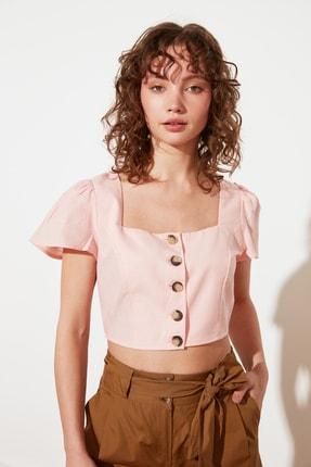 TRENDYOLMİLLA Somon Petite Düğmeli Bluz TWOSS21BZ1449 0
