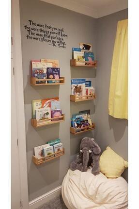 OlcayAksesuar Montessori Kitaplık Çocuk Bebek Odası Duvar Rafı Ahşap Kitaplık Raf 3 Adet 50 Cm 2