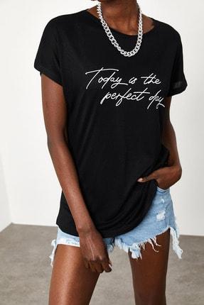 Xena Kadın Siyah Yumuşak Dokulu Esnek Örme Baskılı T-Shirt 1KZK1-11560-02 0