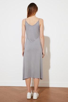 TRENDYOLMİLLA Gri Askılı Örme Elbise TWOSS19VG0313 3