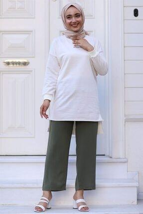 Moda Bu Huban Moda Kadın Haki Beli Lastikli Bol Paça Salaş Yazlık Pantolon Aerobin-865829 Aerobin-865829 1