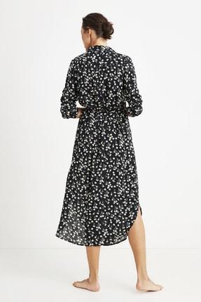 Penye Mood Kadın Siyah Çiçek Desenli Elbise 1
