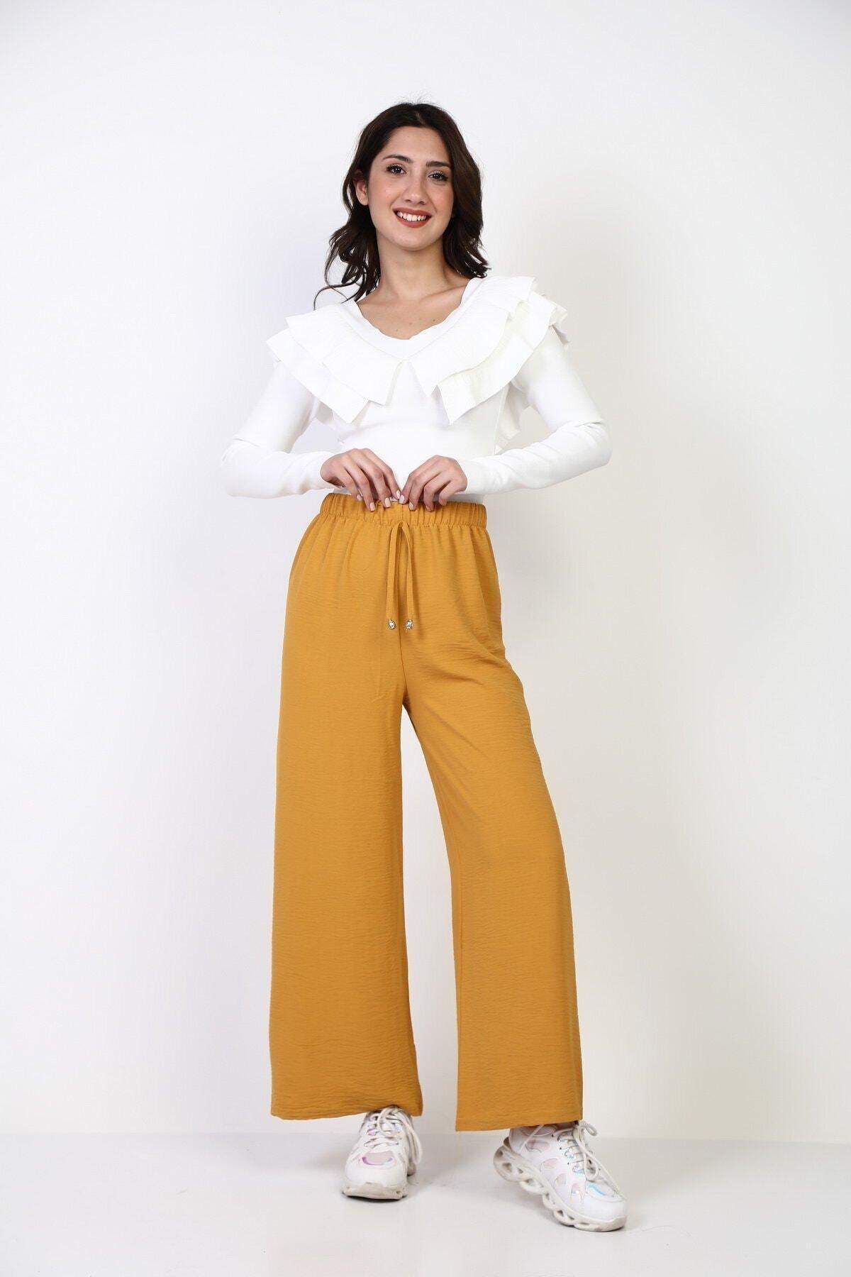 Kadın Hardal Beli Lastikli Bol Paça Salaş Yazlık Pantolon Aerobin-865829