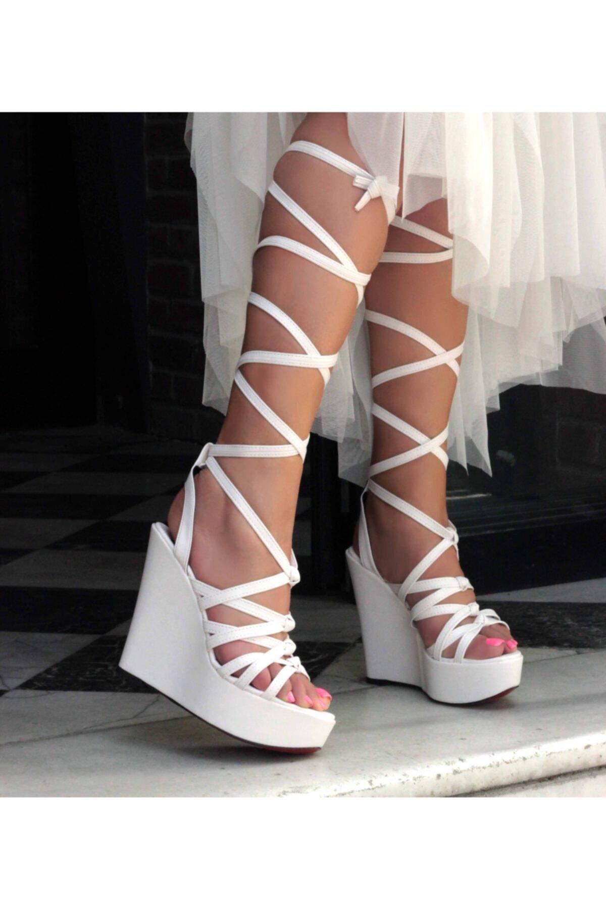 Kadın Beyaz Dolgu Topuk Ayakkabı