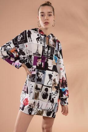 Pattaya Kadın Baskılı Oversize Sweatshirt Elbise P20w-4129 2