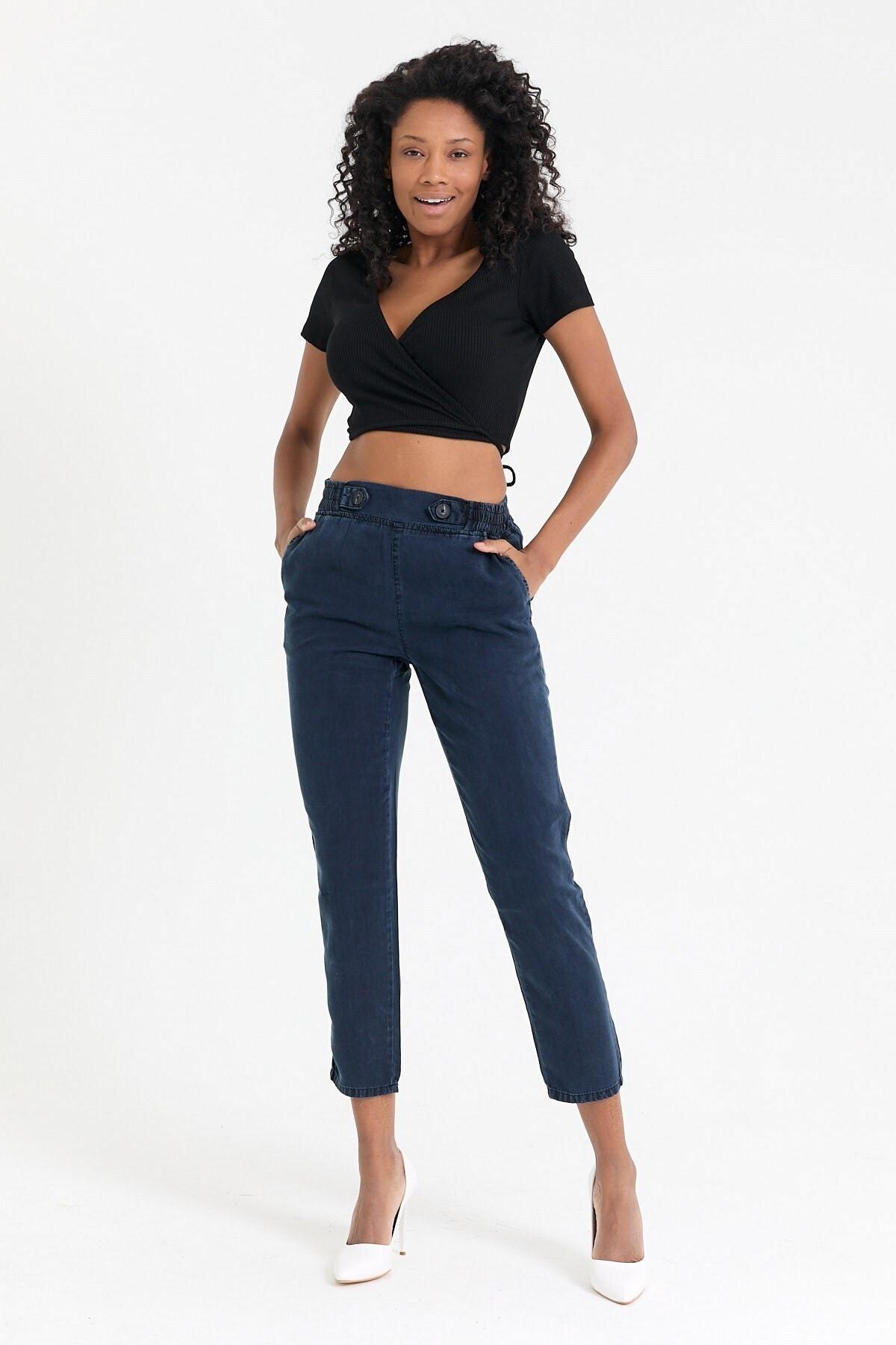 Kadın Mavi Denim Pantolon