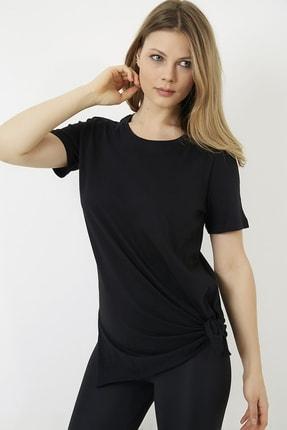 Vis a Vis Kadın Siyah Yanları Yırtmaçlı Uzun T-shirt 1