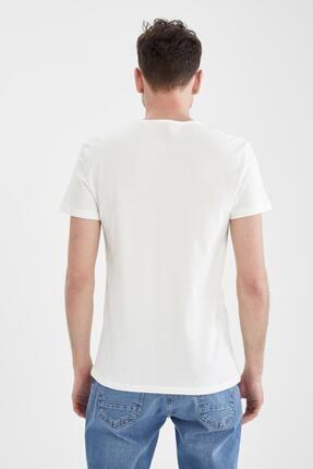 Defacto Erkek Ekru Slim Fit Slogan Baskılı Tişört 2
