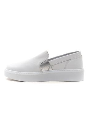 GRADA Kadın Sade Düz Beyaz Hakiki Deri Sneaker Ayakkabı 3
