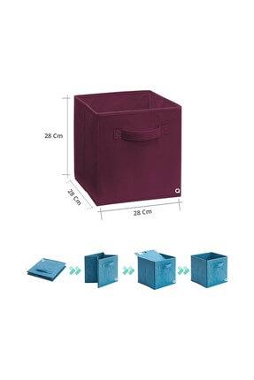 Rani Mobilya Q1 Large Çok Amaçlı Dolap İçi Düzenleyici Kutu Dekoratif Saklama Kutusu Raf Organizer Bordo 1