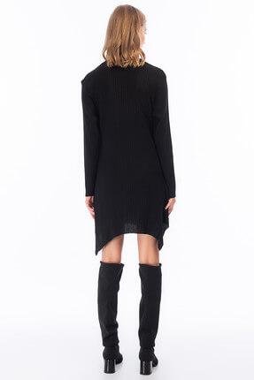 Cotton Mood Kadın Siyah Kalın Fitilli Uzun Kol Çan Tunik Elbise 8411104 1