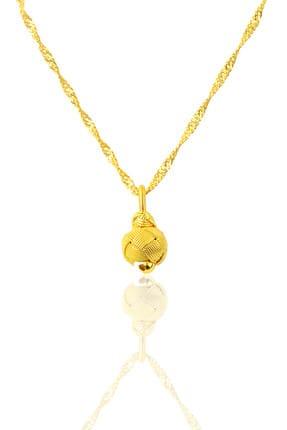 Söğütlü Silver Kadın Gümüş Altın Yaldızlı Kazaziye Top Kolye Ve Singapur Zincir SGTL9573 0