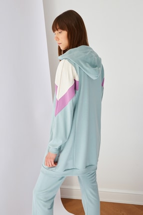 Trendyol Modest Mint Panelli Fermuarlı Örme Sweatshirt TCTSS21SW0340 4
