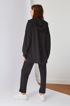 Trendyol Modest Siyah Kapüşonlu Örme Eşofman Takımı TCTSS21EM0091 4