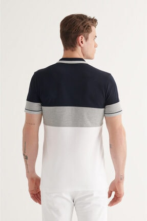 Avva Erkek Lacivert Polo Yaka Parçalı T-shirt A11y1025 3