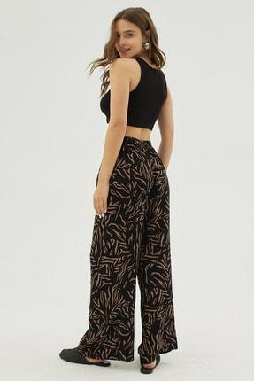 Pattaya Kadın Siyah Zebra Desenli Geniş Paça Dokuma Pantolon P21s169-1233 3