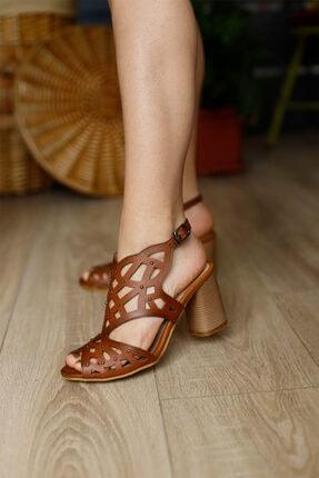 PUNTO Kadın Taba Topuklu Sandalet 0