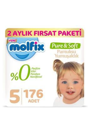 Molfix Pure&Soft Bebek Bezi 5 Beden Junior 2 Aylık Fırsat Paketi 176 Adet 0