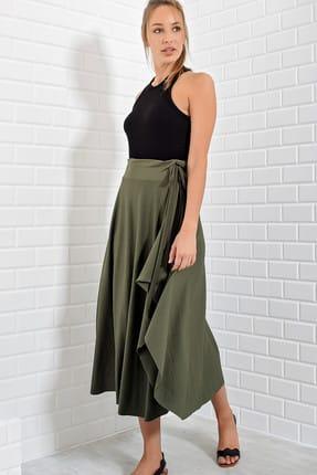Trend Alaçatı Stili Kadın Haki Asimetrik Kesim Etek ALC-5402 1