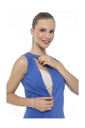 Accouchee Saks Mavisi Emzirme Özellikli Şık Elbise 1