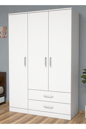 Bimossa K3245 Gardrop 3 Kapılı 2 Çekmeceli Askılı Elbise Dolabı Beyaz 1