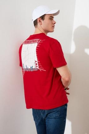 TRENDYOL MAN Kırmızı Baskılı Bisiklet Yaka T-Shirt TMNSS20TS0638 3