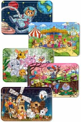 Baskı Atölyesi Uzay Kedi, Sevimli Hayvanlar, Lunapark , Masal Kahramanları Çiftlik Hayvanları 54 Parça Ahşap Puzzle 0