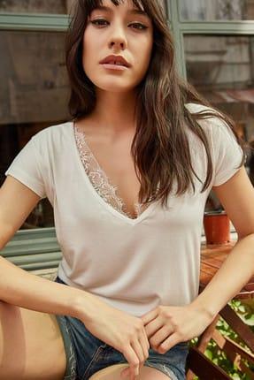 Olalook Kadın Beyaz Yaka Dantelli Salaş Viskon T-Shirt BLZ-19000298 3