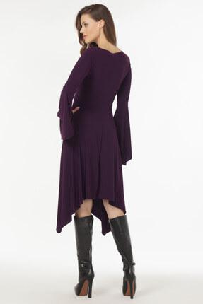Laranor Kadın Mürdüm Asimetrik Kesim Elbise 19L6477 2